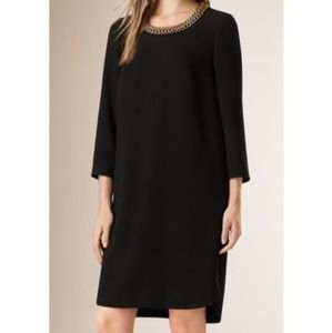 Burberry Black Chain Shift Black Crepe Dress US 12